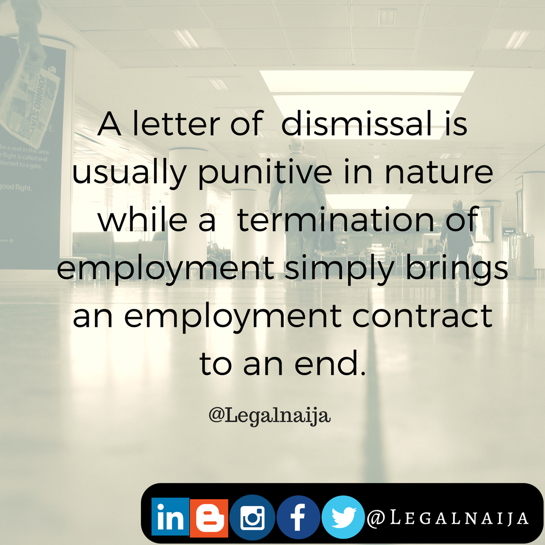 Difference between Letter of Dismissal & Letter of Termination | Adedunmade Onibokun