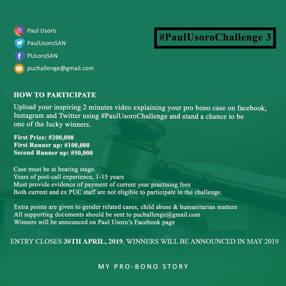 Supporting Pro Bono In Nigeria #PaulUsoroChallenge