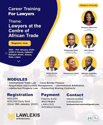Early Bird registration for the International Trade Law and Conflict Management training for Lawyers has been extended to Monday 13/1/2020.