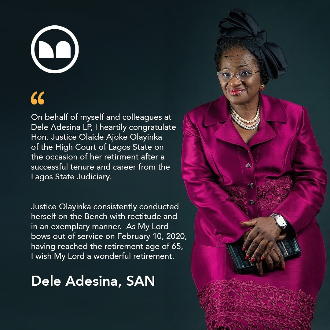 Dele Adesina Congratulates Hon. Justice O.A. Olayinka on her Retirement from the Bench