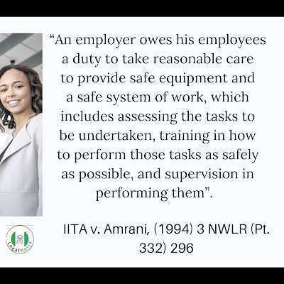 The Legal Duty of Employers to Protect Employees from Workplace Injuries in Nigeria | Michael Dugeri