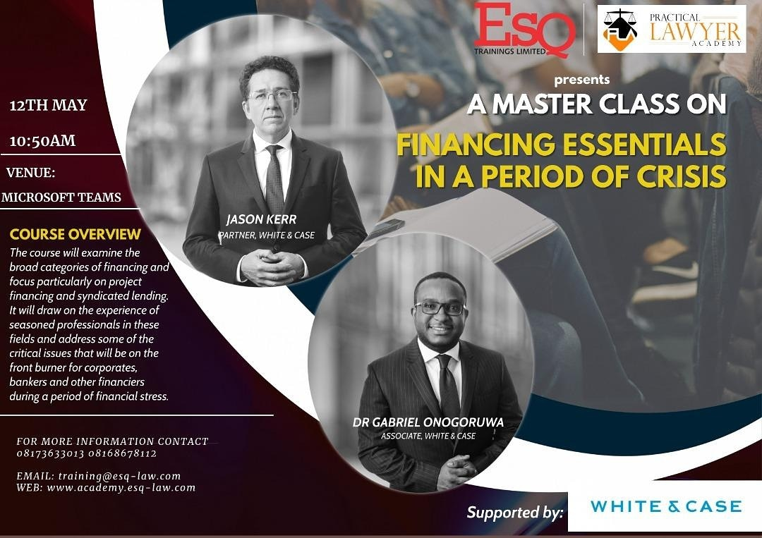 Esq presents Masters Class on Financing Essentials in a Period of Crisis