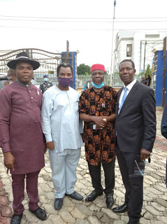 Chief Hon. G. O Ogbaga (Former Minister of State Power & Steel) and Ade Adegbite flanked by O Okorie (Chairman, Abakaliki Branch) and Festus Nweke (Immediate Past Chairman, Abakaliki Branch)