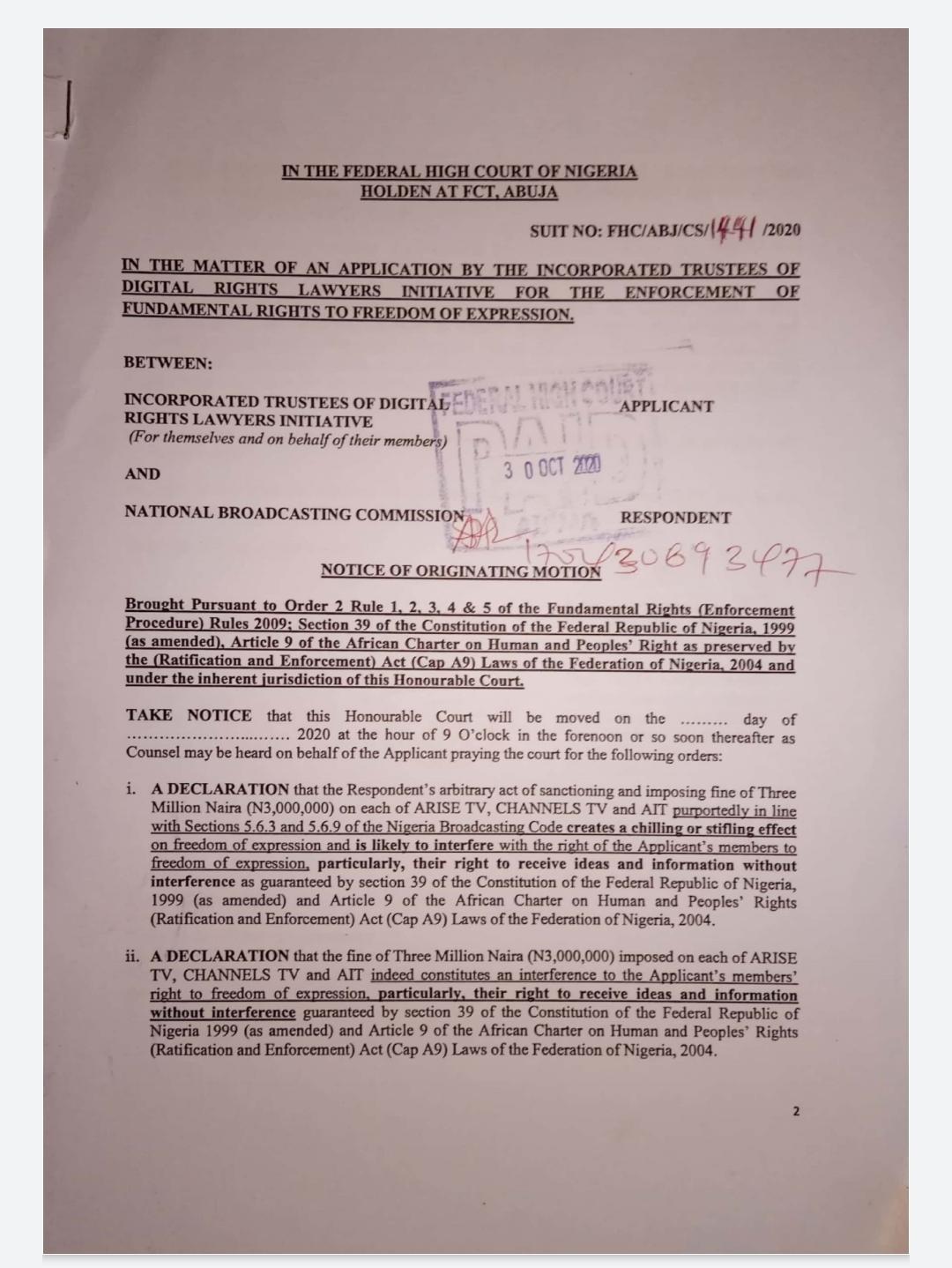 DRLI sues NBC over punitive fines against ARISE TV, Channels TV and AIT